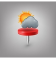 Red pin icon weather Cloud sun vector image vector image