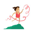 rhythmic gymnastics little girl with ribbon vector image