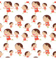 seamless background with happy girl in red vector image vector image