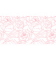 seamless pattern hand drawn outline pink peony vector image vector image
