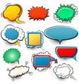 set bright comic speech bubbles halftone vector image vector image