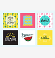 Set of 6 summer cards with quotes and symbols vector image