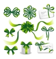 Set of green gift bows with ribbons vector image vector image