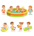 small children having fun in water pool vector image