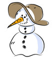 snowman with hat on white background vector image vector image