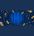 spotlight on blue curtain and golden confetti vector image