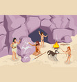 stone age people background vector image vector image