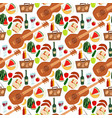 summer picnic basket products wine seamless vector image