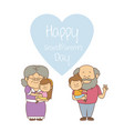 white background with elderly couple with kids vector image vector image