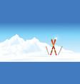 winter ski resort against winter landscape vector image vector image
