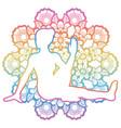 women silhouette marichis yoga pose marichyasana vector image vector image