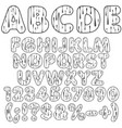 alphabet letters numbers and signs with drops vector image vector image