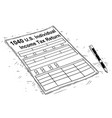 artistic drawing of 1040 individual income tax vector image
