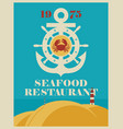 banner for a seafood restaurant with an anchor vector image vector image