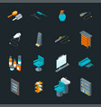 barber shop icons set isometric view vector image