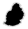 black silhouette of the country mauritius with vector image vector image
