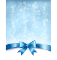 Blue elegant holiday background with gift bow and vector image vector image