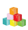 cartoon pyramid colored cubes toy cubes vector image vector image