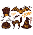 collection halloween symbols with hand vector image