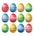color easter eggs isolated on white background vector image vector image