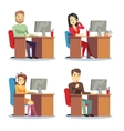 Different people characters women and men working vector image vector image