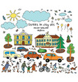 doodles street sity object people cars houses sun vector image vector image