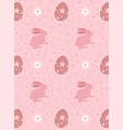 easter eggs and rabbit seamless pattern on pink vector image