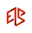 es initials lettermark 3d red cube frame design vector image