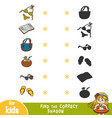 find correct shadow set summer items and vector image vector image