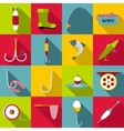 Fishing tools items icons set flat style vector image vector image
