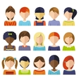 Flat Children Heads Icon Set vector image