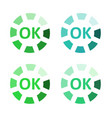 flat ok sticker icon vector image vector image