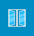 flat open plastic window icon on blue vector image vector image