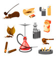 flat set of items related to smoking theme vector image
