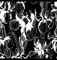 Floral flower iris seamless hand drawn pattern