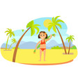 girl with towel on sand mountain landscape vector image vector image