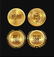golden metal badges collection 3 vector image vector image