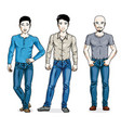 handsome men posing wearing casual clothes vector image