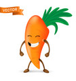 happy cartoon carrot mascot character with arms vector image vector image