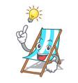 have an idea beach chair mascot cartoon vector image