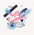 hello summer modern poster on abstract background vector image vector image