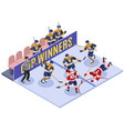 hockey game isometric composition vector image vector image