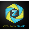 Letter colorful logo in the hexagonal on black vector image vector image