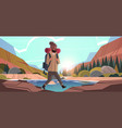 man traveler hiking with backpack travel lifestyle vector image