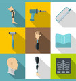 orthopedic surgery icon set flat style vector image vector image
