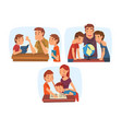 parents teaching their children set mom and dad vector image vector image