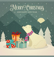 retro christmas card with polar bears and presents vector image vector image
