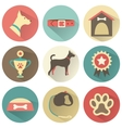 Retro dog icons set for web vector image