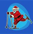 santa claus goes skiing comic cartoon pop art vector image vector image