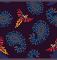 seamless pattern with paisley and birds vector image vector image